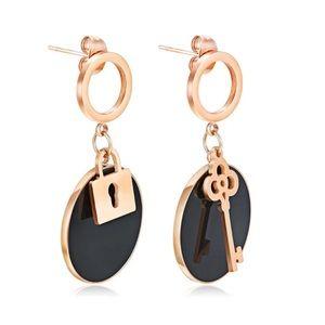 3/$30 Rose Gold Plated Lock & Key Dangle Earrings